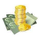 Money icon. Money vector  icon, banknotes and coins, isolated on white background Royalty Free Stock Photos