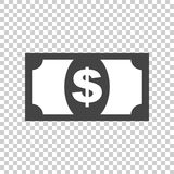 Money icon. Vector illustration in flat style. Dollar on isolate Royalty Free Stock Photos