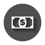 Money icon. Vector illustration in flat style. Dollar with long shadow Stock Photos