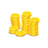 Money icon on white background. Coins vector illustration in fla Stock Photos