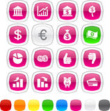 Money icons. Money glossy icons. Set of buttons Royalty Free Stock Photography