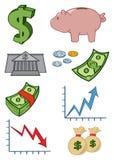 Money Icons. Various cartoon money related cartoon icons Royalty Free Stock Image