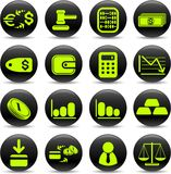 Money icons. Money vector iconset, green-and-black style Stock Photography
