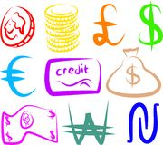 Money icons. A set of colourful money icons isolated on white Stock Photo