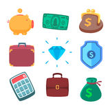 Money icons. Cartoon conceptual illustration of funny character Royalty Free Stock Image