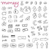 Money icons. Doodle style illustration with money, currencies and finance object symbols. Business set Stock Photography