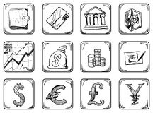 Money icons. Finance Doodle Icons Set Illustration Royalty Free Stock Photo