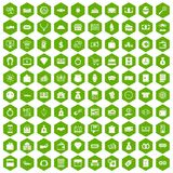 100 money icons hexagon green. 100 money icons set in green hexagon isolated vector illustration Royalty Free Illustration