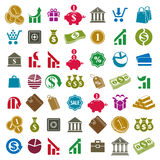 Money icons isolated on white background vector set, finance the Royalty Free Stock Images