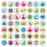 Money icons isolated on white background vector set, finance the. Me simplistic symbols vector collections Stock Photography