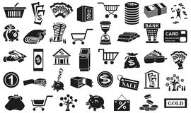 Money icons isolated on white. Preview black icons in  white background with  subject of money Stock Images