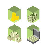 Money icons  isometric  style Stock Photography