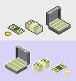 Money icons. Isometric  style sticker Stock Photos