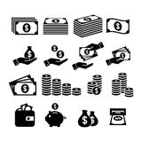 Money icons. Money stack, coin stack, piggy bank, wallet with money, cash payment, hand holding money icons. Financial icon set. Money icons. Money stack, coin Stock Photos