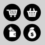 Money icons. Over gray background vector illustration Royalty Free Stock Photography