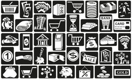 Money icons. Preview white icons in black rectangles with  subject of money Royalty Free Stock Images