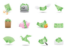 Money icons set Stock Photography