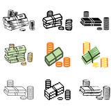 Money icons set. Money dollars icons vector set royalty free illustration