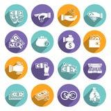 Money Icons Set. Money bank finance elements icon white set with savings exchange commerce elements isolated vector illustration Stock Photo