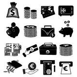 Money icons set Royalty Free Stock Photography