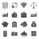 Money icons. Set of black and white silhouette icons on money theme Royalty Free Stock Photos