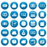 Money vector icons set blue, simple style. Money icons set blue. Simple illustration of 25 money vector icons for web Royalty Free Stock Photos