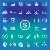 Money icons set on blur background. vector . illustration Stock Photos
