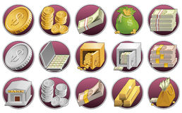 Money icons. Set of business and finance icons Stock Photo
