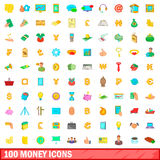 100 money icons set, cartoon style Stock Photos