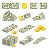 Money icons set in cartoon style. Packing in bundles of banknotes, pile of cash, paper money, gold coins, money fan concept. Financial and banking isolated on Stock Photo