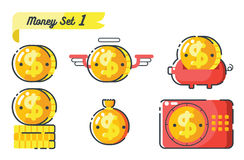Money icons set 1. Concept of money Stock Images