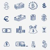 Money icons set doodle sketch hand draw. Finanse. Investment business credit bank elements Royalty Free Stock Photos