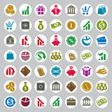 Money icons  set, finance theme simplistic symbols  Royalty Free Stock Image
