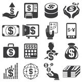 Money icons. Set of 16 money and financial icons Vector Illustration