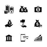 Money icons set. Flat design style eps royalty free illustration