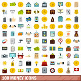 100 money icons set, flat style Royalty Free Stock Image