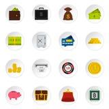 Money icons set, flat style Royalty Free Stock Images