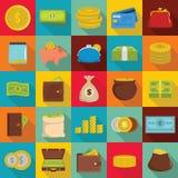 Money icons set, flat style Royalty Free Stock Photography