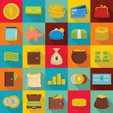 Money icons set, flat style. Money icons set. Flat illustration of 25 money vector icons for web Royalty Free Stock Photography