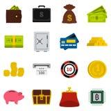 Money icons set, flat style Royalty Free Stock Photos