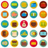 Money icons set, flat style. Money icons set. Flat illustration of 25 money vector icons circle isolated on white Stock Photo