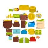 Money icons set, flat style. Money icons set. Flat illustration of 25 money vector icons isolated on white background Stock Photography