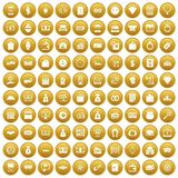 100 money icons set gold. 100 money icons set in gold circle isolated on white vector illustration Stock Photo