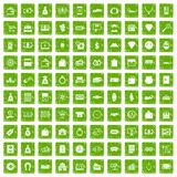 100 money icons set grunge green Royalty Free Stock Photos