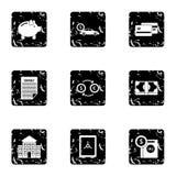 Money icons set, grunge style Stock Images
