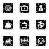 Money icons set, grunge style Royalty Free Stock Photography