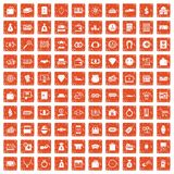 100 money icons set grunge orange. 100 money icons set in grunge style orange color isolated on white background vector illustration vector illustration