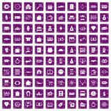 100 money icons set grunge purple. 100 money icons set in grunge style purple color isolated on white background vector illustration stock illustration