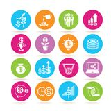 Money icons. Set of 16 money iconsin colorful buttons Vector Illustration