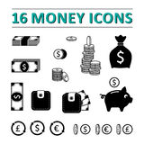 16 money icons set. This is a  illustration of 16 money icons set Royalty Free Stock Photography